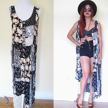 Vintage patchwork floral flower black lace maxi vest dress duster cover button down hippie boho bohemian festival grunge