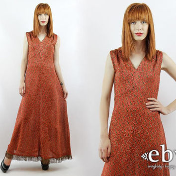 Vintage 70s Red Metallic Maxi Dress XS S Cocktail Dress Party Dress Fringe Dress Metallic Dress Evening Gown