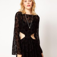 For Love And Lemons | For Love and Lemons Cut-Out Dress in Velvet Burnout at ASOS