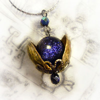 Universe in a nutshell necklace, blue goldstone necklace, galaxy necklace, space necklace, geek jewelry, eco friendly