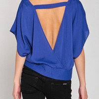 Robe Back Gold Button Top in Blue