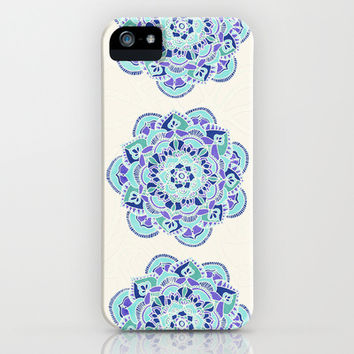 Royal Blue, Teal, Mint & Purple Mandala Flower iPhone & iPod Case by Tangerine-Tane