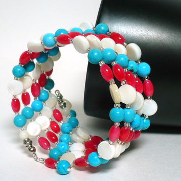 Turquoise Mother of Pearl and Pink Coral Cat Eye MultiWrapped Bracelet