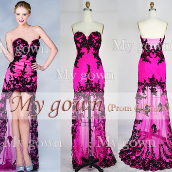 2014 Prom Dress,Hi-low Beaded Lace Applique Homecoming Dress,Cocktail Dress,Formal Dresses,Wedding Dress,Evening Gown,Bride Dress,Ball Dress