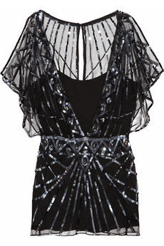 Temperley London|Web embellished tulle top|NET-A-PORTER.COM