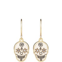 Scrimshaw Skull Black Diamond Earrings by Me & Ro - Moda Operandi
