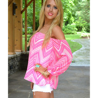 San Isabel Neon Pink Chevron Off-Shoulder Top