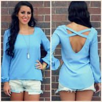 Lourdes Blue Bishop Sleeve Top