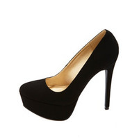 NUBUCK ALMOND TOE PLATFORM PUMPS
