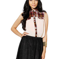 Papaya Clothing Online :: plaid CHIFFON BLOUSE