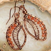 Peach Moonstone Wire Wrapped Earrings Hammered Copper Leaf | OwlHollowStudio - Jewelry on ArtFire