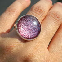 Glass Ring Sparkle Pink Cocktail Ring by PushTheButtons on Etsy