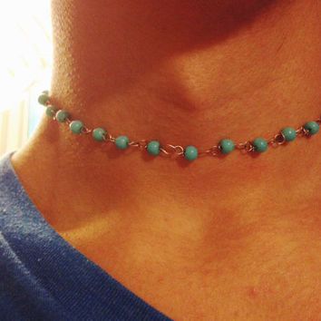 rosary beaded choker