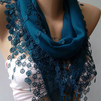 Turquoise Blue Elegance Shawl / Scarf with Lace Edge by womann
