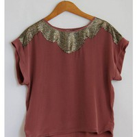 Rose Silk Sequin Top