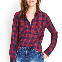 FOREVER 21 Button-Down Woven Plaid Shirt Red/Navy Small