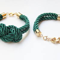 Green and Gold chunky chain and Knot Silk Bracelet set by Brinkle