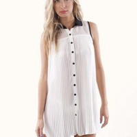 White Sleeveless Top - White Accordion Pleated Tunic with | UsTrendy