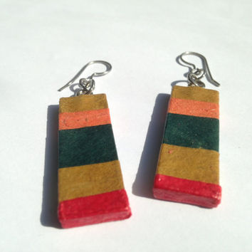 Striped Hanji Paper Dangle Earrings OOAK Striped Brown Green Red Hypoallergenic hooks Lightweight