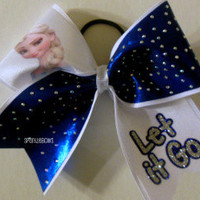 Frozen Elsa Let it Go Rhinestone Large Cheer Bow Hair Bow Cheerleading