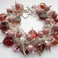 Cluster Bracelet, Pink Bracelet, Miracle Beads, Glass Hearts, Glass Leaves, Charm Bracelet, Purple | Luulla