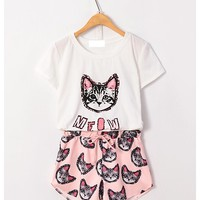 Meow star white T-shirt and casual cat head shorts two colors