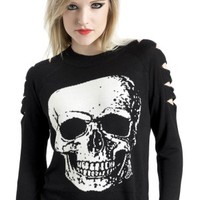 Women's Big Skull Sweater With Upper Arm Slits