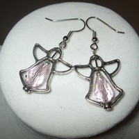 NEW Crystal Angel Frame Earrings pink Any Age Unisex | DesignsByAmyB - Jewelry on ArtFire