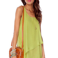 Tiered Tunic Dress in Lime :: tobi