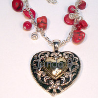 Big Heart Valentine's Day Pendant Necklace by lindab142 on Etsy