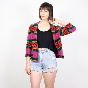 Vintage Southwestern Jacket Crop Jacket Fleece Jacket Rainbow Print Striped Navajo Boho Blazer Jacket Soft Grunge 1990s 90s XS S Extra Small