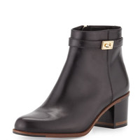 Leather Ankle Bootie, Black