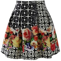 Retro Floral Wreath Skater Skirt