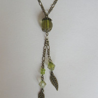 Forest Pixie vintage green lariat style necklace with by PragueVintage