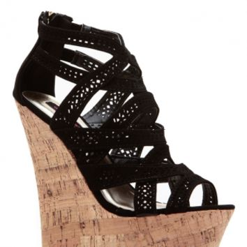 Black Laser Cut Curves Ahead Cork Wedges @ Cicihot Wedges Shoes Store:Wedge Shoes,Wedge Boots,Wedge Heels,Wedge Sandals,Dress Shoes,Summer Shoes,Spring Shoes,Prom Shoes,Women's Wedge Shoes,Wedge Platforms Shoes,floral wedges
