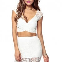 Ivory Kiki Overlapped Lace Crop Top