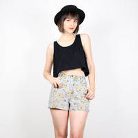 Vintage 90s Shorts SUNFLOWER Print Denim Shorts Black White Gingham Plaid Jean Shorts High Waisted Shorts 1990s Soft Grunge Shorts S Small
