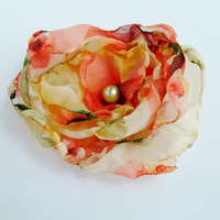 Bridal Hair Flower, Coral Orange Peach Green and Cream Chiffon Flower, Wedding Hair Flower