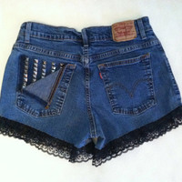 Studded Levi High Waisted Shorts with Lace Trim