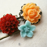 Summer Flower Hair Pins by PiggleAndPop