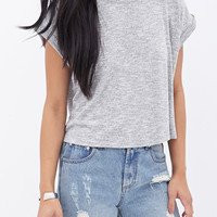 FOREVER 21 Boxy Heathered Tee Heather Grey
