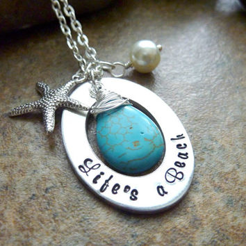 Beach Jewelry Starfish Necklace Life's a Beach Turquoise Blue Personalized Wire wrapped pearl