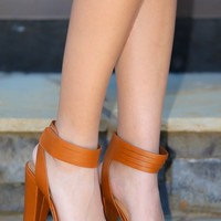 Take Me Back Heels-Cognac