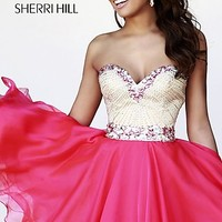 Short Beaded Strapless Dress by Sherri Hill