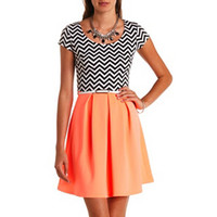 CHEVRON PRINT & NEON BELTED SKATER DRESS