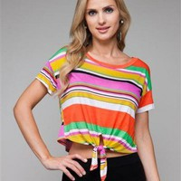 MULTICOLOURED STRIPE KNOT TIE TOP-Graphic Tees-Women&#x27;s Graphic Tees,Graphic Tops,Print Graphic Tees,Graphic T Shirts,women designer tees,tube Fashion tops