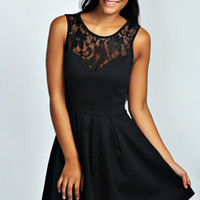 Tina Lace Insert Skater Dress