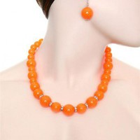 PEARL STONE NECKLACE &amp; EARRING SET-Necklaces-Womens Necklaces,pendant necklace,beaded necklace,heart necklace,diamond necklace,pearl necklace,long necklace