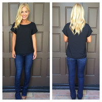 Luella Luxe T-Shirt Blouse - BLACK