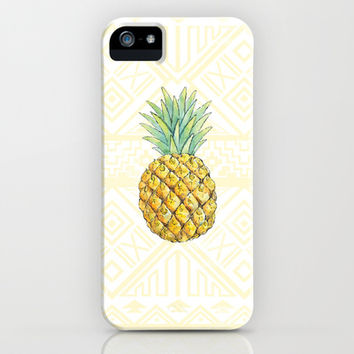 Pineapple on Aztec iPhone & iPod Case by Kate
